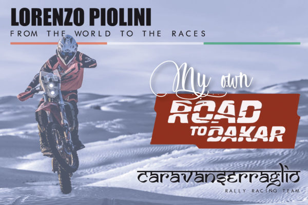 Lorenzo Piolini in moto alla Dakar
